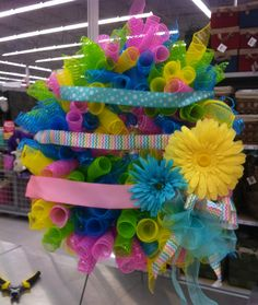 Easter Egg Mesh Wreath 2014. Kristy@michaels 1091. Took the top two ribbons off then it sold :)
