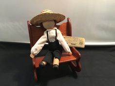 Vintage Amish Folk Wood Male Doll by Eva Brother (in Rocking Chair) in Dolls, Bears, Dolls, Vintage Vintage Porcelain Dolls, Traditional Toys, Vintage Teddy Bears, Half Dolls, Doll Parts, Antique Toys, Amish, Rocking Chair, Wood Crafts