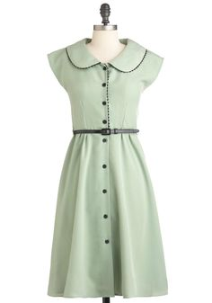 One Sweet Song Dress - Long, Green, Solid, Buttons, Peter Pan Collar, Casual, Shirt Dress, Cap Sleeves, Spring, Belted, Black, Trim, Exclusives