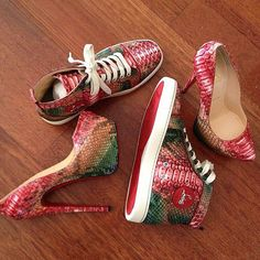 his: lobuoutin python high top sneakers. hers: python louboutin lady peeps #shoeporn #hisandhers