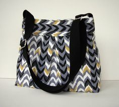 Black Grey White Canvas Pleated Messenger Bag - Black Print Crossbody Bag - Adjustable Strap - Medium