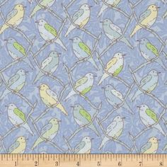 Victorian Modern Birds on a Branch Blue from @fabricdotcom  Designed by Modern Quilt Studio for Andover, this cotton print fabric is perfect for quilting, apparel and home decor accents. Colors include shades of blue and shades of green.