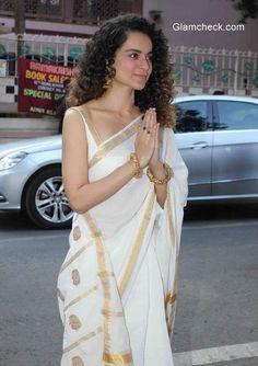 Kangna Ranaut in White Saree with Golden Border Indian Bridal Fashion, Indian Wedding Outfits, Indian Outfits, Indian Beauty Saree, Indian Sarees, Kerala Saree, Ethnic Sarees, Onam Saree, Kasavu Saree