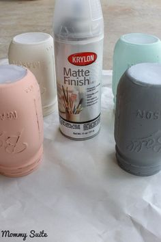 Spray mason jars with a matte finisher to seal the paint