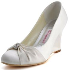 Elegantpark Women's EP2005 Round Toe Wedge Satin Rhinestones Bow Wedding Shoes:Amazon:Shoes
