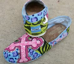 Custom Painted design on YOUR TOMS with Pink by dreaminbohemian