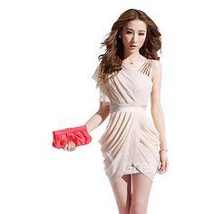 $8.65 Charming One-Shoulder Ruffled and Asymmetric Hem Design Beam Waist Solid Color Women's Dress