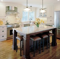 Trendy Kitchen Island With Seating Layout Window Ideas Kitchen Island With Seating For 6, Kitchen Island Table, Large Kitchen Island, Kitchen Islands, Islands With Seating, Kitchen Peninsula, Updated Kitchen, New Kitchen, Kitchen Decor