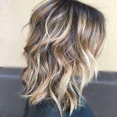 Layered Long Bob Haircut with Blonde Balayage Highlights
