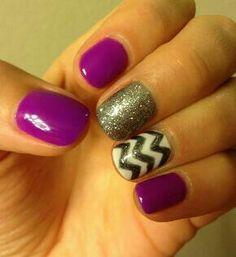 Purple, silver and white.