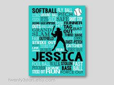 Softball Typography Art Print Perfect for Girl's by twenty3stars