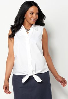 Wrinkle Resist Sleeveless Tie Front - All StylesChristopher & Banks