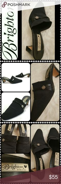 Brighton Italy Mules Brighton Signature Shoes in Classic Black Stretch Fabric with About 2.5 inches Heels, Iconic Brighton With Silver Embellished on a Braided Leather Trimming! Made in Italy, Leather Upper, Used in Mint Condition! Brighton Shoes Mules & Clogs