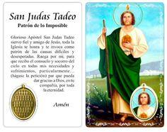 Estampa de San Judas Tadeo con Oración, patrón de lo Imposible.
