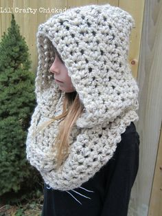 Warm and cozy hooded infinity scarf, perfect for keeping extra warm and for layering.