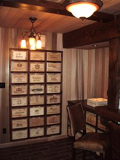 Victorian style study decorated with wooden wine crates, wine boxes and wood wine panels