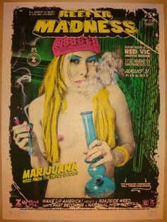 Reefer Madness - silkscreen movie poster. Artists: Zoltron, Dave Hunter, and Ron Donovan of the Firehouse