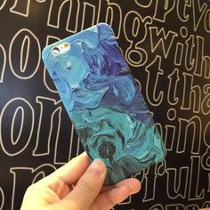 Pc Case Blue Oil painting phone back cover For Apple iPhone6