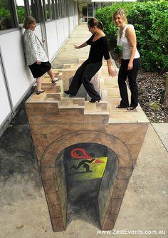 Escher inspired chalk art by Rudy Kistler for corporate internal communications program