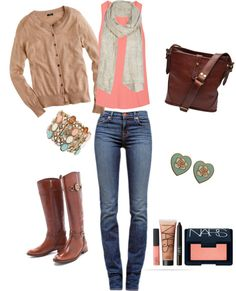 """""""Fall Peach and Tan"""" by vintagerose914 on Polyvore"""