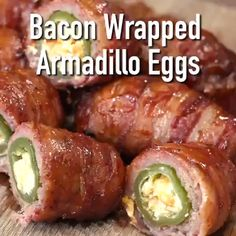 Bacon Wrapped Armadillo Eggs are like a jalapeno popper meatball mashup. Filling enough to be a main dish, but portable enough to make as appetizers, snacks, or tailgating munchies. recipes for dinner easy videos Bacon Wrapped Armadillo Eggs Bacon Recipes, Mexican Food Recipes, Appetizer Recipes, Healthy Recipes, Dinner Recipes, Grill Appetizers, Bratwurst Recipes, Green Egg Recipes, Jalapeno Recipes