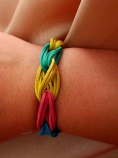 rubber band bracelet using large sized rubber bands