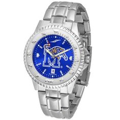 "Memphis Tigers NCAA Anochrome ""Competitor"" Mens Watch (Steel Band) by SunTime. $93.99. Calendar Date Function. Color Coordinated. Rotating Bezel. Showcase the hottest design in watches today! The functional rotating bezel is color-coordinated to compliment your favorite team logo. The Competitor Steel utilizes an attractive and secure stainless steel band. The AnoChrome dial option increases the visual impact of any watch with a stunning radial reflection similar to tha..."