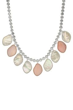 CZ & Organic Shape Mother of Pearl Pendant Necklace