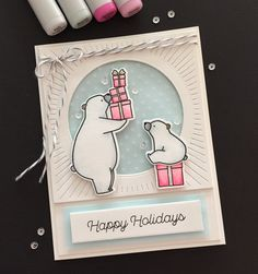 Kid's Christmas card MFT Birthday Bears stamps and dies and Trim the Tree sentiment stamp. Colored with Copic markers.