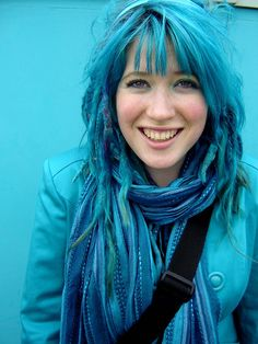 Teal Dreadlocks, so much blue!