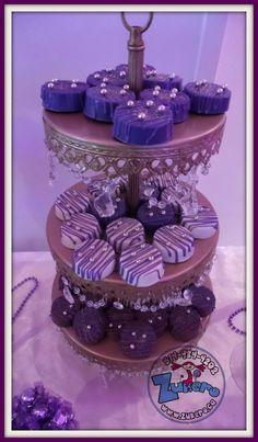 Purple and White Oreos Gold Dessert, Dessert Table, Purple Desserts, We Do Logos, Pretzel Desserts, Disney Princess Birthday Party, Princess Sophia, 70s Party