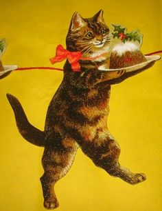 Victorian 10 Cat Christmas Paper Garland Die Cut   eBay