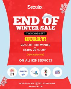 Don't miss out on your favorite deals this winter season. Avail 25% discount on all B2B services with an additional 20% discount on applying today. Get free live demo. +91 72300-86664 Web Application Development, Mobile Application, Design Development, Software Development, End Of Winter, Business Software, Winter Sale, Winter Season, Portal