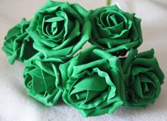 £4.99 GBP - 6 Emerald Green Foam Roses Wedding Bouquet Buttonhole Pp047 #ebay #Home & Garden