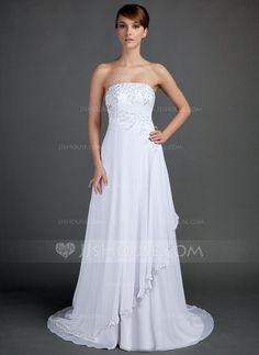 A-Line/Princess Strapless Court Train Chiffon Wedding Dress With Beading Appliques Lace (002012572) - JJsHouse
