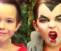 Dracula Vampire Makeup for Kids #halloween #face_paint #costume #fangs