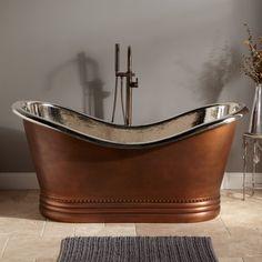 Paige Copper Double-Slipper Tub - Nickel Interior