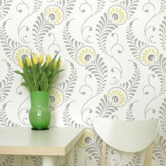 Interesting!  A little too pricey for my budget.  Wall Stencil | Feathered Damask Stencil | Royal Design Studio