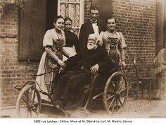 Therese's sister Celine (left) with her father, Louis Martin.  Celine cared for the ailing Louis until his death in 1894 and then entered the convent herself.  Therese, who had entered Le Carmel convent in 1888, was devastated by the death of her father.
