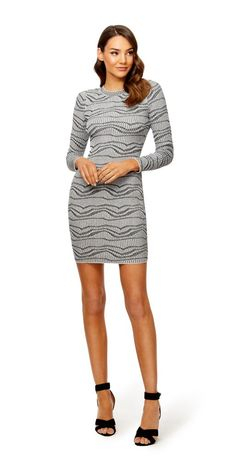 The Wanderlust Dress is made from a blend of Viscose and Nylon. The Wanderlust Dress is a ribbed dress in a jacquard fabric that is long sleeved with a crew neckline and band at the neck. Ribbed Dress, What Should I Wear, Jacquard Fabric, My Wardrobe, Latest Trends, Black And White, Wanderlust, Long Sleeve, Casual