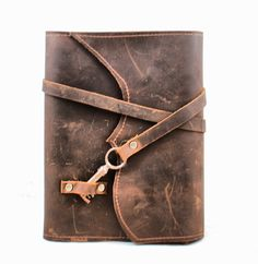 Distressed Brown Leather Book Cover - Leather Notebook.