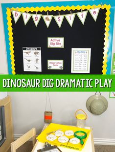 Dinosaur Theme Dramatic Play Theme for preschool. You little paleontologists will have a blast in the dramatic play center using these printable props to enhance oral language, literacy, writing, and math skills! Preschool Boards, Dinosaurs Preschool, Dinosaur Activities, Preschool Centers, Kids Learning Activities, Preschool Classroom, Dramatic Play Themes, Dramatic Play Centers, Kindergarten Themes
