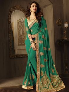 Green+Color+Latest+Indian+Designer+Saree+Blouse+For+Women+Party+Wear