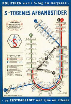 Billedresultat for s-tog Metro Map, Vintage Lettering, Copenhagen Denmark, Travel Posters, Vintage Posters, Planer, Retro Vintage, Pin Up, Typography