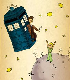 Ah, Doctor Who in the art stylings of Antoine De Saint-Exupery's book 'The Little Prince.'
