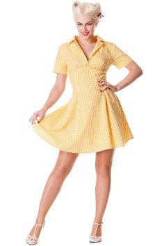 The Hell Bunny Tuesday mini dress in yellow gingham. 1950's inspired summer shirt dress. RRP £39.99 £11.99 www.jgthi.com