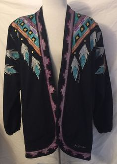 Women's Open Jacket Hand painted Artist Signed Black Art To Wear Size M J2 #CarynGrahamAssociates #HandpaintedOpenLongJacket