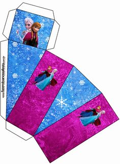 Frozen in Blue and Purple: Free Printable Boxes. Printable Box, Free Printable Invitations, Free Printables, Party Printables, Frozen Birthday Party, Frozen Theme Party, Frozen Free, Make Your Own Labels, Paper Box Template