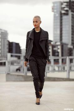 By Micah Gianneli Leather Boyfriends - Double Leather - Micah Gianneli Micah Gianelli, News Fashion, Fashion Blogs, Bald Women, Australian Fashion, Mode Style, Street Chic, Leather Fashion, Her Style