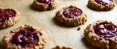 Peanut Butter Thumbprints with Strawberry Lambic Jam